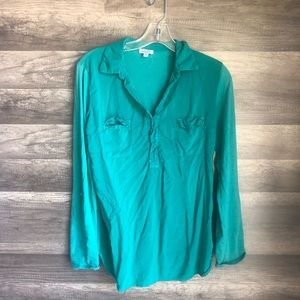 Splendid sea green/blue tunic blouse medium